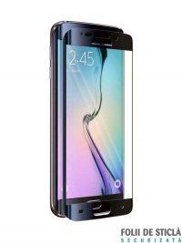 Folie curbată 3D din sticlă securizată pentru Samsung Galaxy S6 Edge+ Plus NEGRU