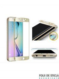 Folie curbată 3D din sticlă securizată pentru Samsung Galaxy S6 Edge GOLD