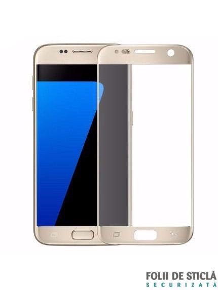Folie Fullscreen 2.5D din sticla securizata pentru Samsung Galaxy S7 GOLD