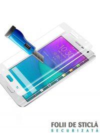 Folie curbată 3D din sticlă securizată pentru Samsung Galaxy Note Edge ALB