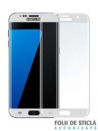 Folie curbată 3D din sticlă securizată pentru Samsung Galaxy S7 Edge ALB (Full cover)