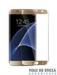 Folie curbată 3D din sticlă securizată pentru Samsung Galaxy S7 Edge GOLD (Full cover)