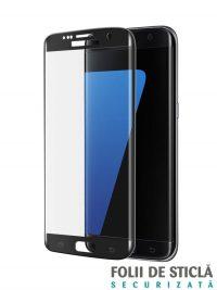 Folie curbată 3D din sticlă securizată pentru Samsung Galaxy S7 Edge NEGRU (Full cover)