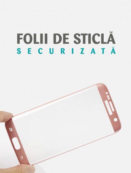 Folie curbată 3D din sticlă securizată pentru Samsung Galaxy S7 Edge ROSE GOLD (Full cover)