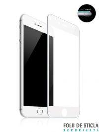 Folie ușor curbată 5D din sticlă securizată pentru iPhone 6 Plus / 6S Plus - ALB