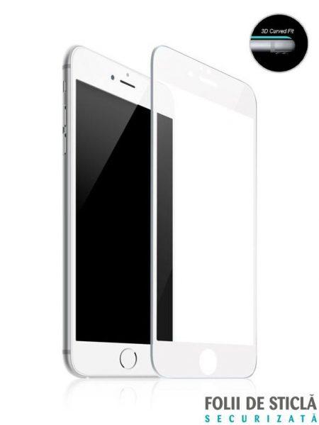 Folie curbată 5D din sticlă securizată pentru iPhone 6/6S - ALB