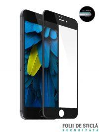 Folie curbată 4D/5D din sticlă securizată pentru iPhone 6/6S Plus - NEGRU