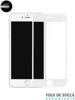 Folie curbată 5D din sticlă securizată pentru iPhone 7 - ALB