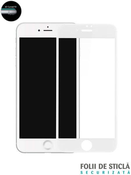 Folie curbată 5D din sticlă securizată pentru iPhone 7 / 8 - ALB