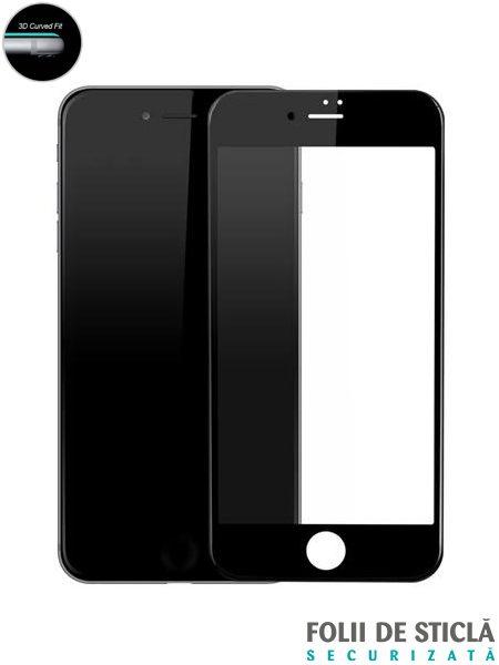 Folie curbată 5D din sticlă securizată pentru iPhone 7 / 8 - NEGRU