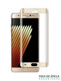 Folie curbată 3D din sticlă securizată pentru Samsung Galaxy Note 7 / FE GOLD