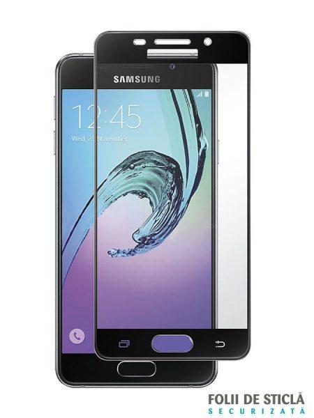 Folie Fullscreen 2.5D din sticla securizata pentru Samsung Galaxy A3 (2016) NEGRU