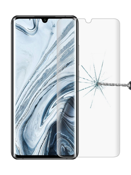 Folie curbată 3D din sticlă securizată pentru Xiaomi Mi Note 10 / 10 Pro / 10 Lite TRANSPARENT
