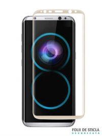 Folie curbată 3D din sticlă securizată pentru Samsung Galaxy S8+ GOLD (Full cover)