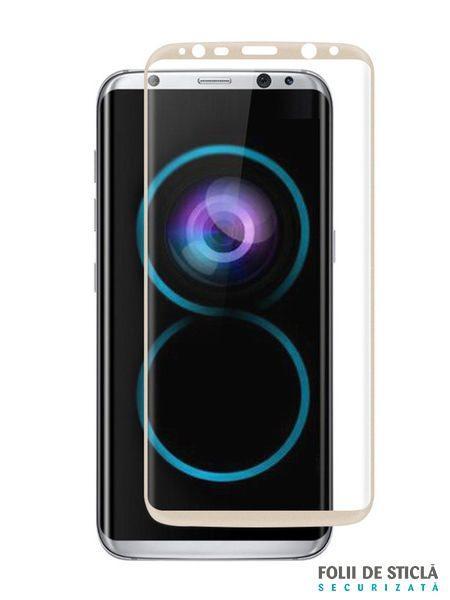 Folie curbată 3D din sticlă securizată pentru Samsung Galaxy S8 GOLD (Full cover)