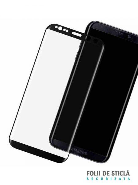 Folie curbată 3D din sticlă securizată pentru Samsung Galaxy S8+ NEGRU (Full cover)