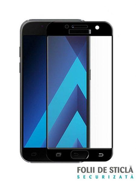 Folie curbată 5D din sticlă securizată pentru Samsung Galaxy A3 (2017) NEGRU - Full glue