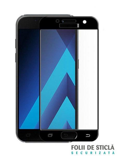 Folie curbată 5D din sticlă securizată pentru Samsung Galaxy A5 (2017) NEGRU - Full glue