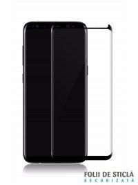 Folie curbată 3D din sticlă securizată pentru Samsung Galaxy S8 NEGRU (Case-compatible)
