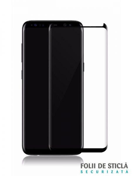 Folie curbată 3D din sticlă securizată pentru Samsung Galaxy S8 NEGRU - FULL GLUE (Case-compatible)