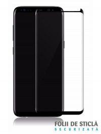 Folie curbată 3D din sticlă securizată pentru Samsung Galaxy S8+ NEGRU (Case-compatible)