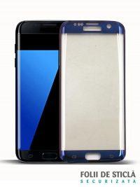 Folie curbată 3D din sticlă securizată pentru Samsung Galaxy S7 Edge BLUE (Full cover)