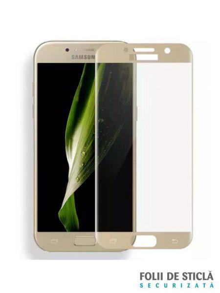 Folie curbată 5D din sticlă securizată pentru Samsung Galaxy A3 (2017) GOLD - Full glue