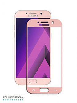Folie curbată 3D din sticlă securizată pentru Samsung Galaxy A3 (2017) PEACH (Full cover)