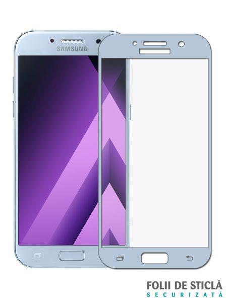 Folie curbată 3D din sticlă securizată pentru Samsung Galaxy A5 (2017) BLUE (Full cover)