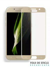 Folie ușor curbată 5D din sticlă securizată pentru Samsung Galaxy A7 (2017) GOLD - Full glue