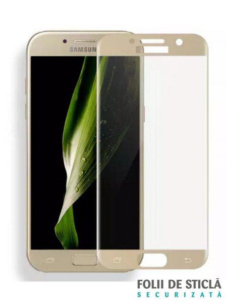 Folie curbată 5D din sticlă securizată pentru Samsung Galaxy A7 (2017) GOLD - Full glue