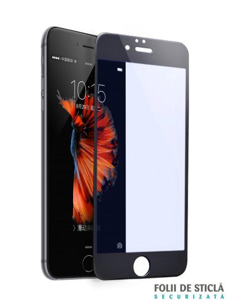 Folie ANTI BLUE-RAY curbată 3D/4D din sticlă securizată pentru iPhone 6/6S - NEGRU
