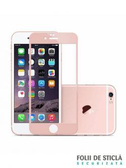 Folie curbată 3D/4D din sticlă securizată pentru iPhone 6/6S - ROSE GOLD