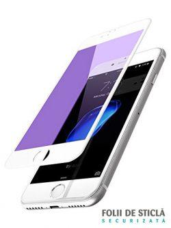 Folie ANTI BLUE-RAY curbată 5D din sticlă securizată pentru iPhone 8 Plus - ALB