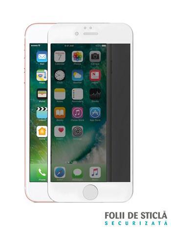 Folie PRIVACY curbată 5D din sticlă securizată pentru iPhone 8 Plus - ALB