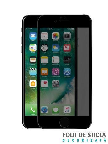 Folie PRIVACY curbată 5D din sticlă securizată pentru iPhone 8 Plus - NEGRU