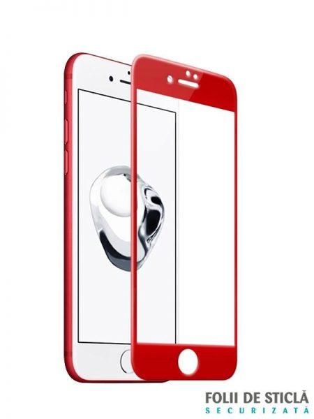Folie curbată 3D/4D din sticlă securizată pentru iPhone 7 - RED