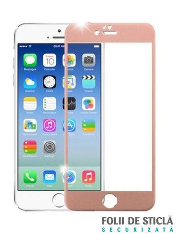 Folie curbată 3D/4D din sticlă securizată pentru iPhone 7 - ROSE GOLD