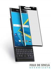 Folie curbată 3D din sticlă securizată pentru BlackBerry Priv NEGRU