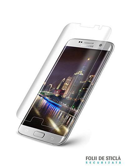 Folie curbată 3D din sticlă securizată pentru Samsung Galaxy S7 Edge TRANSPARENT (Case-compatible)