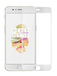 Folie ușor curbată 5D din sticlă securizată pentru OnePlus 5 ALB - Full glue