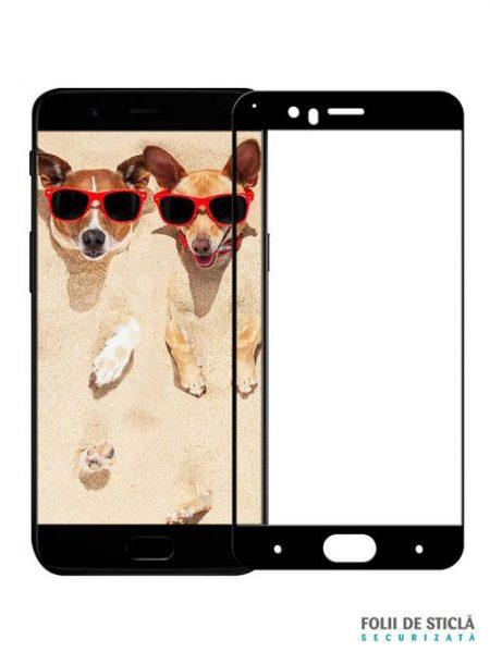 Folie curbată 5D din sticlă securizată pentru OnePlus 5 NEGRU - Full glue
