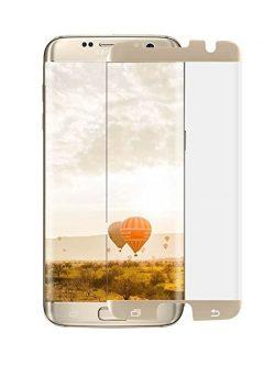 Folie curbată 3D din sticlă securizată pentru Samsung Galaxy S7 Edge GOLD (Case-compatible)