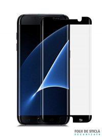 Folie curbată 3D din sticlă securizată pentru Samsung Galaxy S7 Edge NEGRU (Case-compatible)