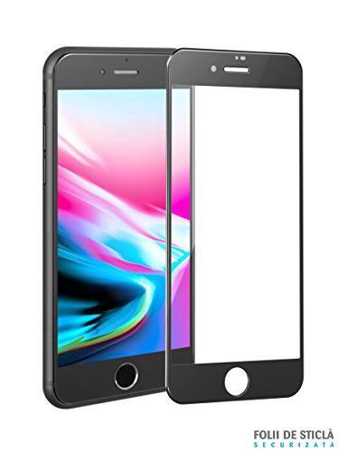 Folie curbată 4D/5D din sticlă securizată pentru iPhone 8 - NEGRU
