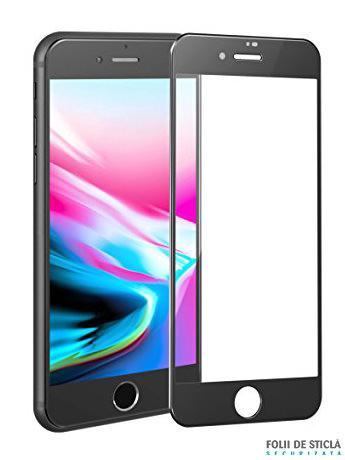 Folie curbată 4D/5D din sticlă securizată pentru iPhone 8 Plus - NEGRU