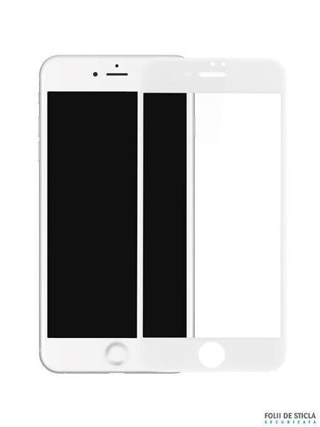 Folie curbată 4D/5D din sticlă securizată pentru iPhone 8 - ALB