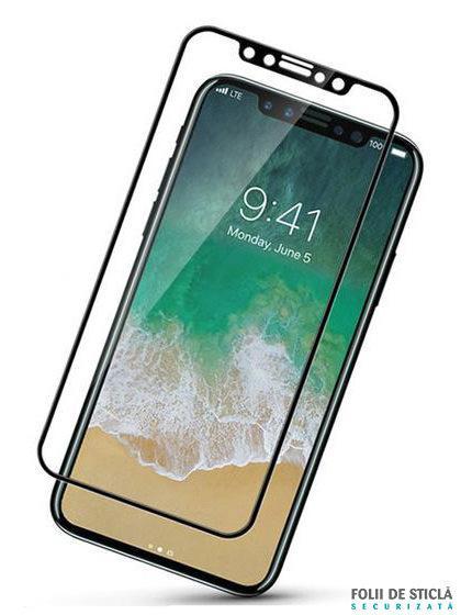 Folie curbată 5D din sticlă securizată pentru iPhone X / XS - NEGRU