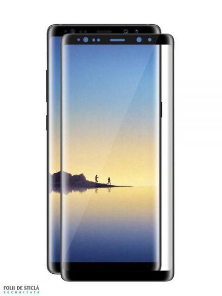 Folie curbată 3D din sticlă securizată pentru Samsung Galaxy Note8 NEGRU (Full cover)