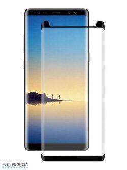 Folie curbată 3D din sticlă securizată pentru Samsung Galaxy Note8 NEGRU - FULL GLUE (Case-compatible)